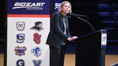 Big East Commissioner Val Ackerman speaks during the