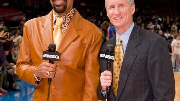 MSG's Knicks broadcasters Walt Frazier and Mike Breen.