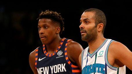 Frank Ntilikina #11 of the Knicks and Tony