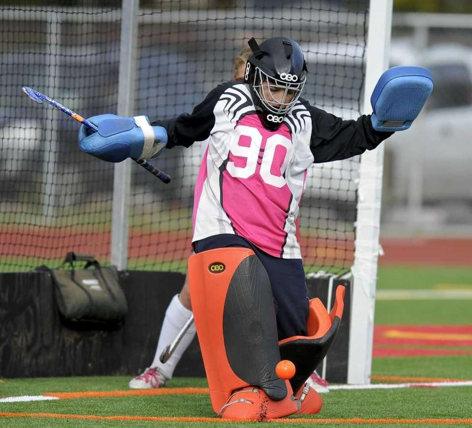 Smithtown East's Ericka Parks makes a kick save