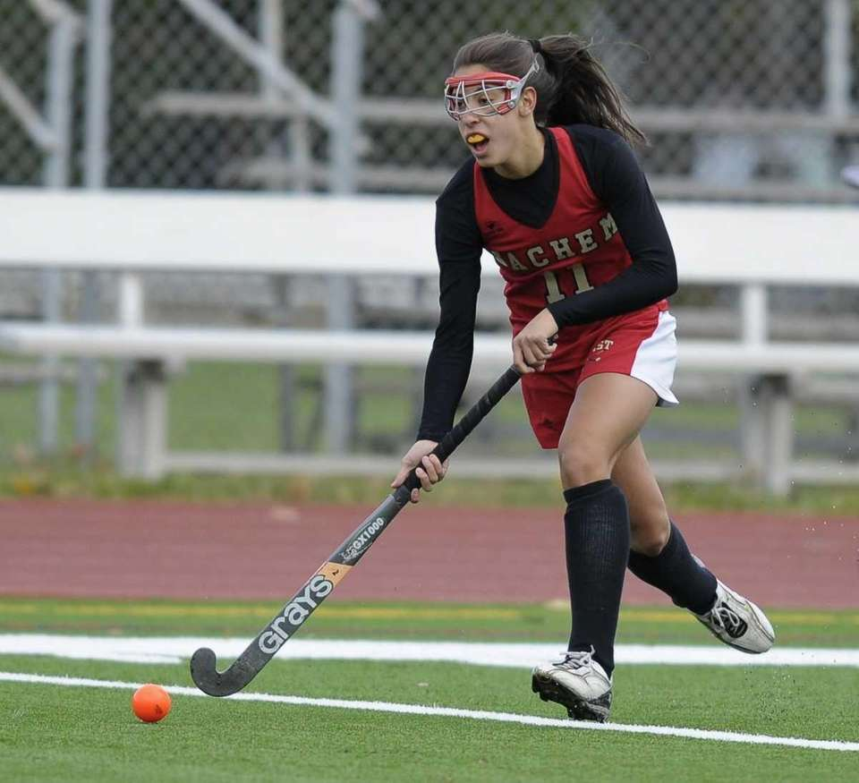 Sachem East's Jillian Donodeo moves the ball downfield