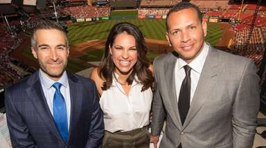"From left, the ESPN ""Sunday Night Baseball"" announcing"