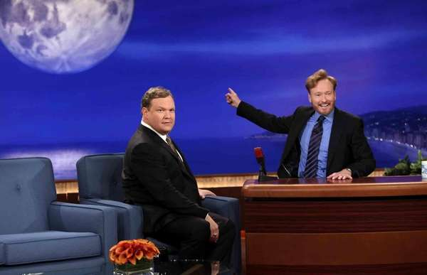 Conan O'Brien and Andy Richter perform during the