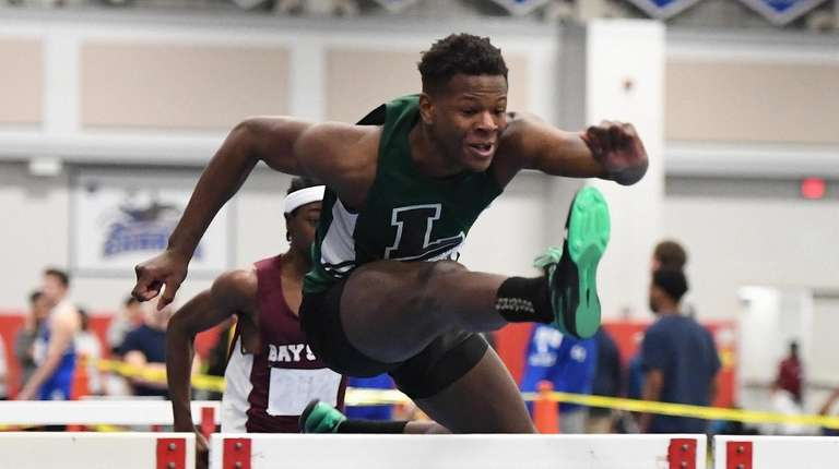Longwood's Jaheim Dotson won the 55-meter high hurdles