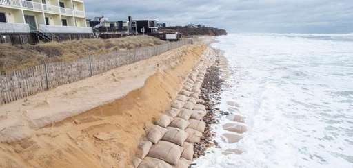 A view looking east shows erosion along the
