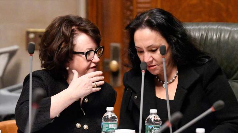 State Education Commissioner MaryEllen Elia, left, and Regents
