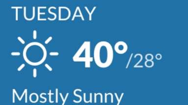 Tuesday afternoon was predicted to warm up to