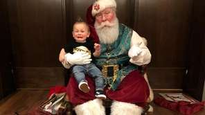 My son meeting Santa Claus for the first