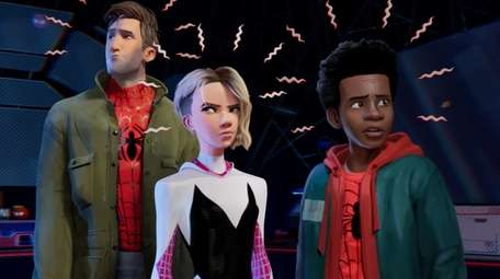 Peter Parker, left, voiced by Jake Johnson, Gwen