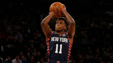 Frank Ntilikina of the Knicks takes a shot