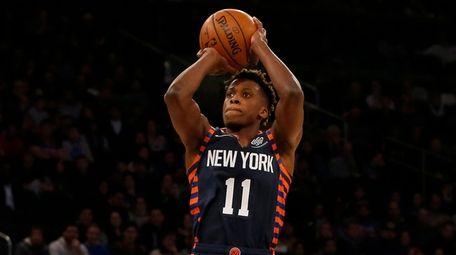 Frank Ntilikina of the Knicks takes a shot