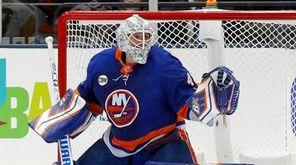 Robin Lehner #40 of the Islanders makes a