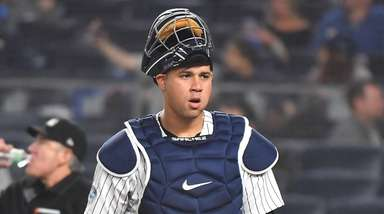 Yankees catcher Gary Sanchez (24) reacts in the