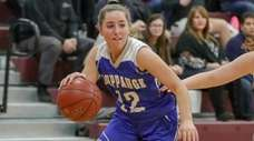 Guiliana Abruscato #12 of Hauppauge drives to the
