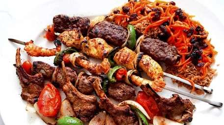 The mixed grill kebab platter is served with