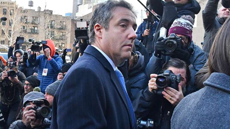 Michael Cohen enters federal court in Manhattan for