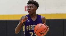 Ahkee Anderson of Greenport during a non-league boys