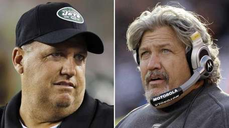 File photos showing New York Jets head coach