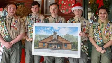 Boy Scout troop 161 members, from left, Erich