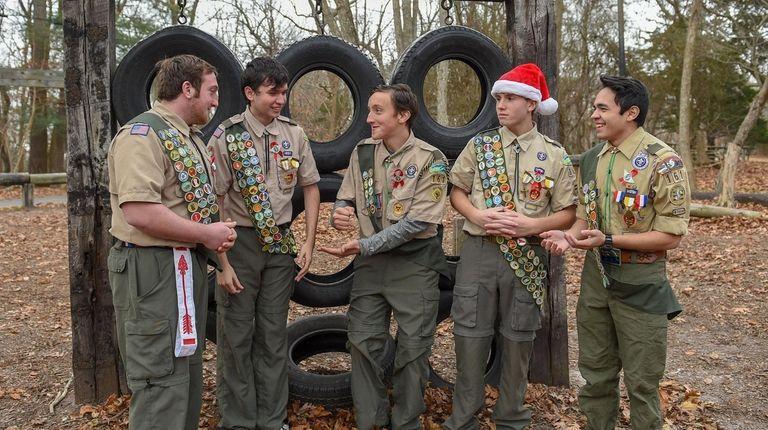 Boy Scout troop 161 members, from left, Erich