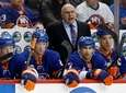 Islanders head coach Barry Trotz reacts during the