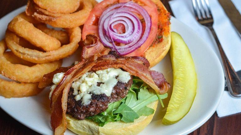 The bistro burger with arugula, pesto, blue cheese