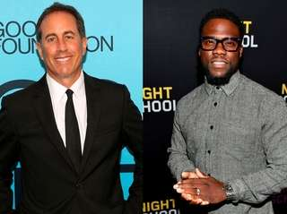 Comedians Jerry Seinfield, left, and Kevin Hart.