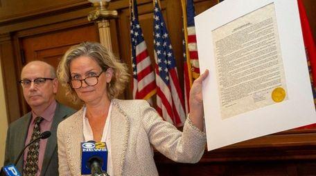 Nassau County Executive Laura Curran shows the executive