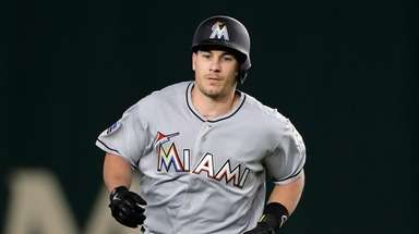 Catcher J.T. Realmuto #11 of the Miami Marlins
