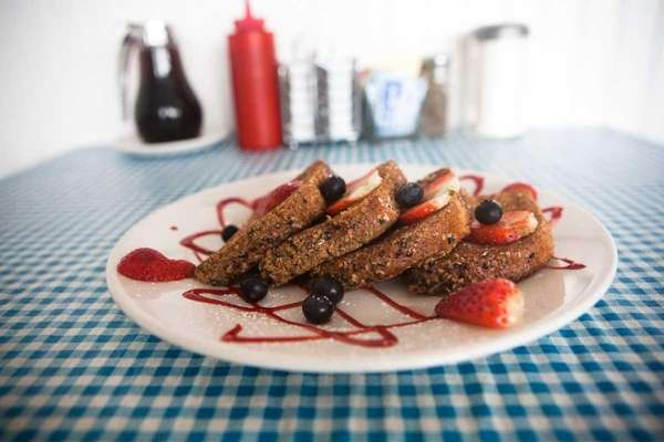 Multigrain, granola-encrusted french toast is available for breakfast