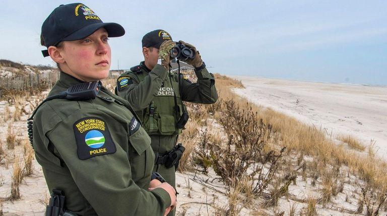 DEC Environmental Conservation Officers Justanna Bohling, left, and