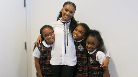 Actress Daniella Perkins with Kidsday reporters Maya