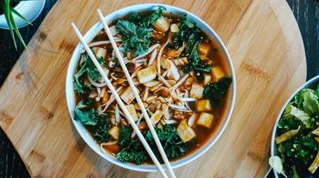 Shiitake mushroom with roasted tofu and veggie broth