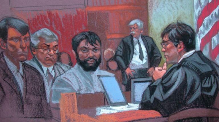 This court sketch shows Zarein Ahmedzay in court