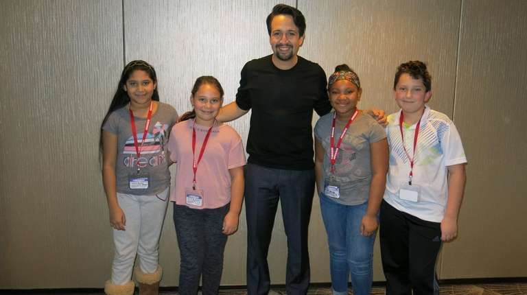 Lin-Manuel Miranda with Kidsday reporters Jaellyn Portillo-Bueso, left,