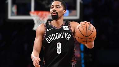 Nets guard Spencer Dinwiddie runs the offense against
