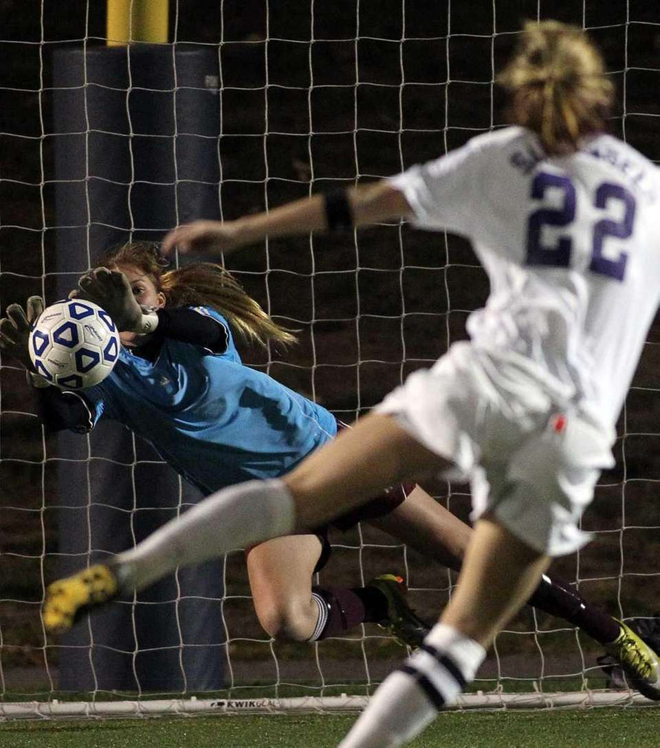 Garden City keeper Christina Mangels with the save