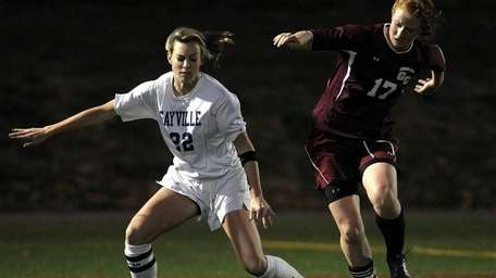 Garden City's Barbara Sullivan control the ball in