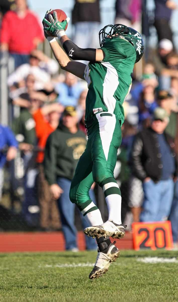 Floyd wide receiver Kenny Grimm #4 grabs the