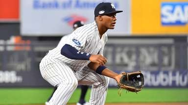 New York Yankees third baseman Miguel Andujar (41)
