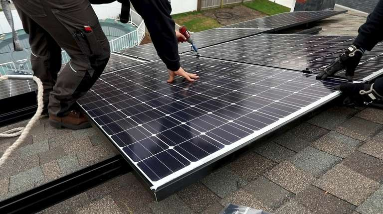 Solar energy panels are installed on the roof
