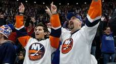 Fans cheer after the Islanders scored a second