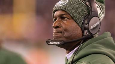 New York Jets head coach Todd Bowles reacts