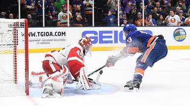 New York Islanders center Mathew Barzal shoots to