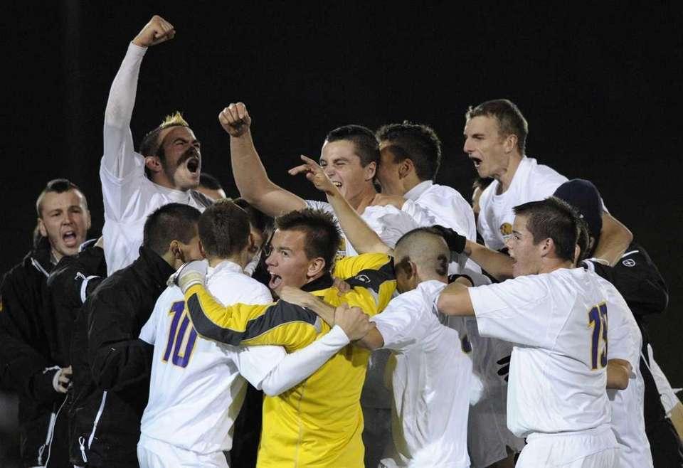 Sayville celebrates their 3-0 win over South Side