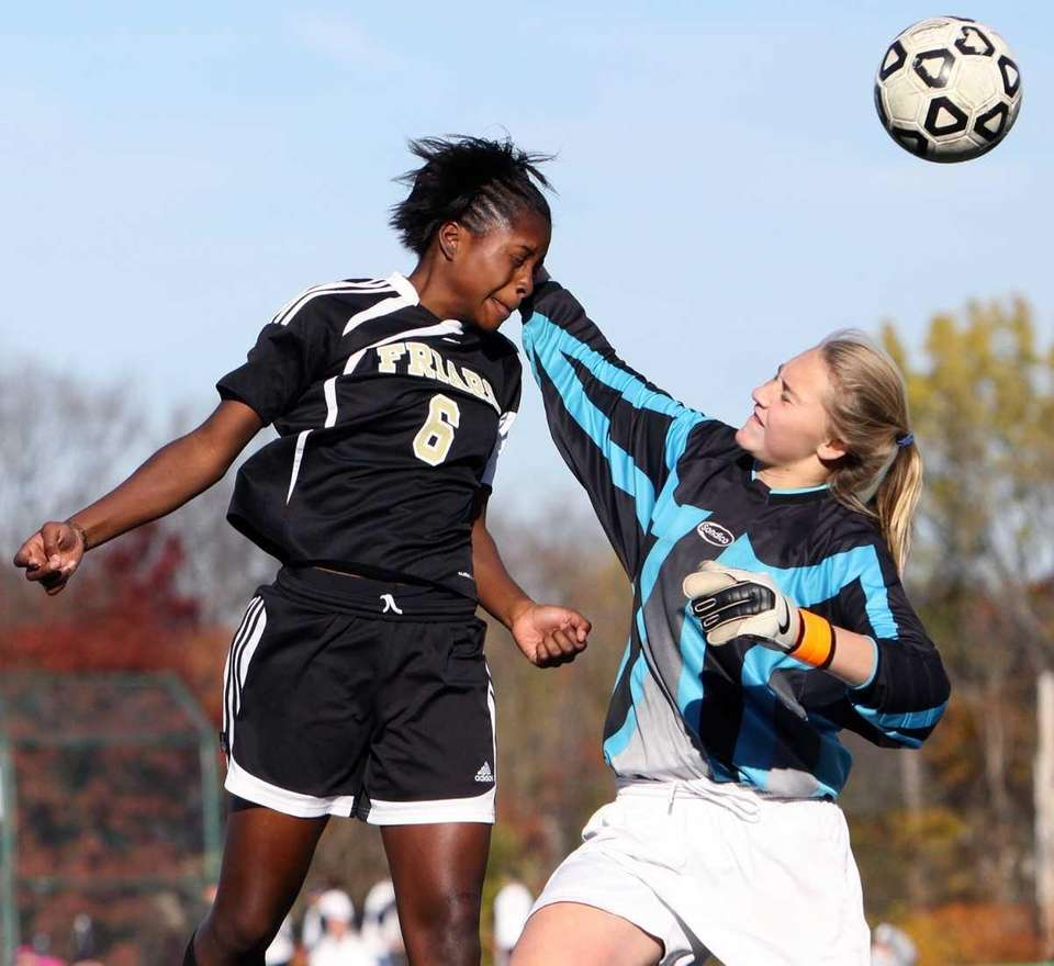 St. Anthony's Ashley Small gets the header