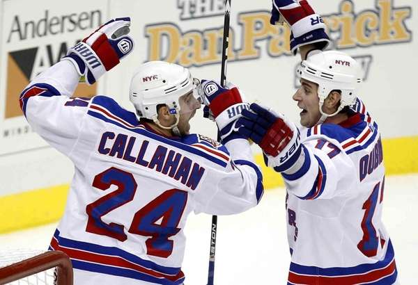 Rangers' Ryan Callahan celebrates with Brandon Dubinsky after