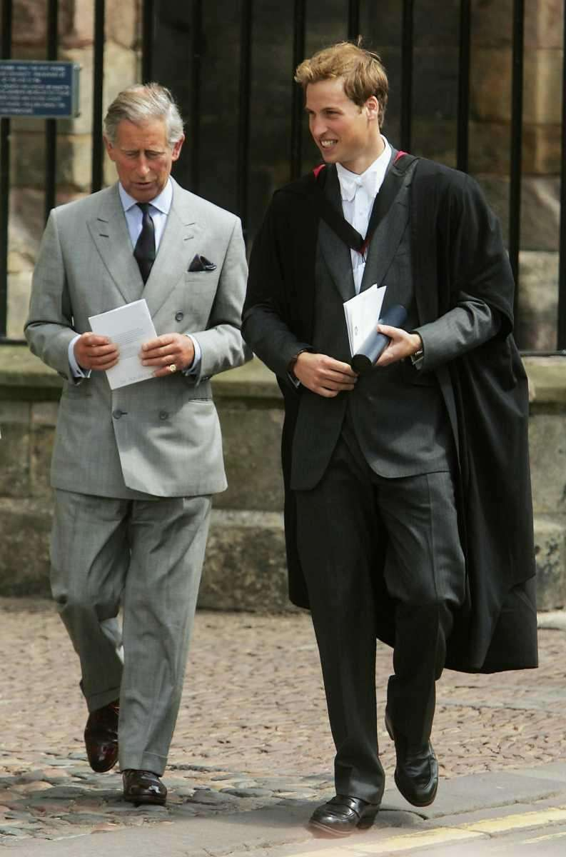 Prince Charles and William leave the son's graduation