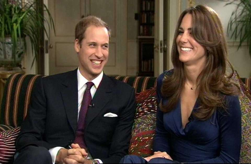 Prince William and Kate Middleton during a television