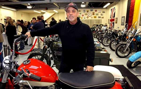 Billy Joel shows off his new motorcycle shop,